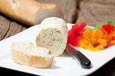 Homemade nasturtium herb butter — Stock Photo