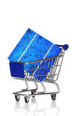 Shopping cart with Solar Cell — Stock Photo