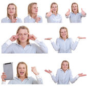 Photo collage of a young woman in various gestures — Stock Photo