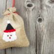 Christmas Card with Burlap Sack — Stock Photo
