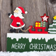 Christmas Card with wooden Sign — Stock Photo