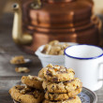 Coffee Time with homemade Walnut Chili Cookies — Stock Photo