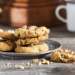 Coffee Break with homemade Walnut Chili Cookies — Stock Photo