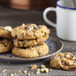 Homemade Walnut Chili Cookies and Coffee — Stock Photo