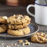 Homemade Walnut Chili Cookies and Coffee — Stock Photo