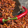 Two red chili peppers on dried chillies — Stock Photo #41722159