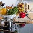 Stock Photo: Worktop with many Kitchen Utensils