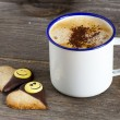 Two Cookies and a Cup of Coffee — Stock Photo