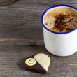 Heart Shaped Cookie and a Cup of Coffee — Stock Photo #41722635