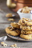 Coffee Break with homemade Walnut Chili Cookies — Stock Photo