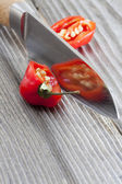 Two halves of a habanero chili pepper — Stock Photo
