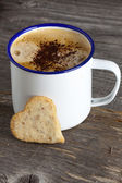 Coffee with Heart Cookie — Stock Photo