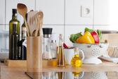 View of a kitchen worktop with induction hob — Stock Photo