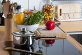 Worktop with many Kitchen Utensils — Stock Photo