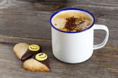 Two Cookies and a Cup of Coffee — Stockfoto