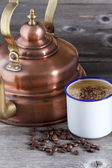 Coffee Cup, Beans and Copper Kettle — Stock Photo