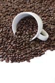 Tasse Kaffee und Bohnen — Stockfoto
