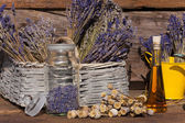 Dried lavender in a basket — Stock Photo