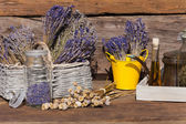 Summer crop of dried lavender, poppy seeds — Stock Photo