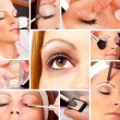 Photo Collage of a real Make up and beauty session — Stock Photo #45757531