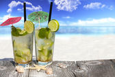Refreshing Mojito Cocktail on Wooden Boards — Stock Photo