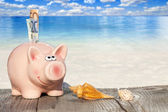 Piggy Bank with banknotes on the Beach — Stock Photo