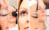 Collage photo of a real Make up and beauty session — Stock Photo