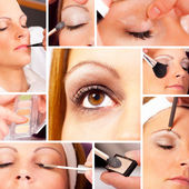 Photo Collage of a real Make up and beauty session — Stock Photo