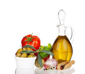 Olive oil and other Ingredients with real reflection — Stock Photo