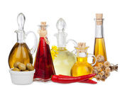 Various Cooking Oils in Glass carafes — Stock Photo