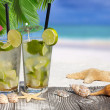Mojito Cocktail under Palm Leaves — Stock Photo