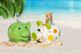 Two Piggy banks with banknotes on the Beach — Stock Photo