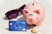 On holiday with credit card — Stock Photo