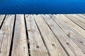 Gamla badbrygga gjord av trä — Stockfoto