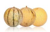 Three different sorts Galia Melons mirrored — Photo