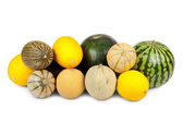 Many different varieties of melons — Photo