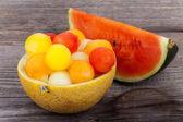 Melon balls in Bowl, made of a Melon — Stock Photo