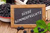 Slate blackboard with the words: Suesse Sommerfruechte — Stock Photo