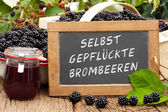 Slate blackboard with the words: Selbst gepflueckte Brombeeren — Stock Photo