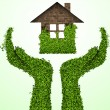 Caring for the environment, arms out of the grass with a green home. The concept of ecology — Stock Vector