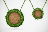 Chatbox van gras en bomen, opknoping op het touw — Stockvector