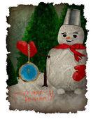Ilustración de navidad - muñeco de nieve, árbol de navidad e ilustración de vector de reloj - postal en estilo retro - navidad — Vector de stock