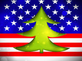 Kerstboom op de amerikaanse vlag — Stockvector