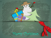 Christmas card. paper moon and Santa Reindeer — Vetorial Stock