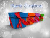 Caja de regalo de navidad con cintas — Vector de stock