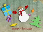 Noel kartı. kağıt ay ve santa ren geyiği — Stok Vektör
