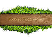 Environmental background of the banner of grass and tree — Stock Vector