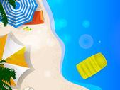 Par de sombrillas en la playa, arte gráfico — Vector de stock