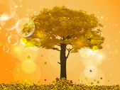 Golden autumn tree with falling leaves and yellow highlights — Stockvector