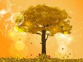 Arbre automne avec chute des feuilles et des reflets jaunes d'or — Vecteur